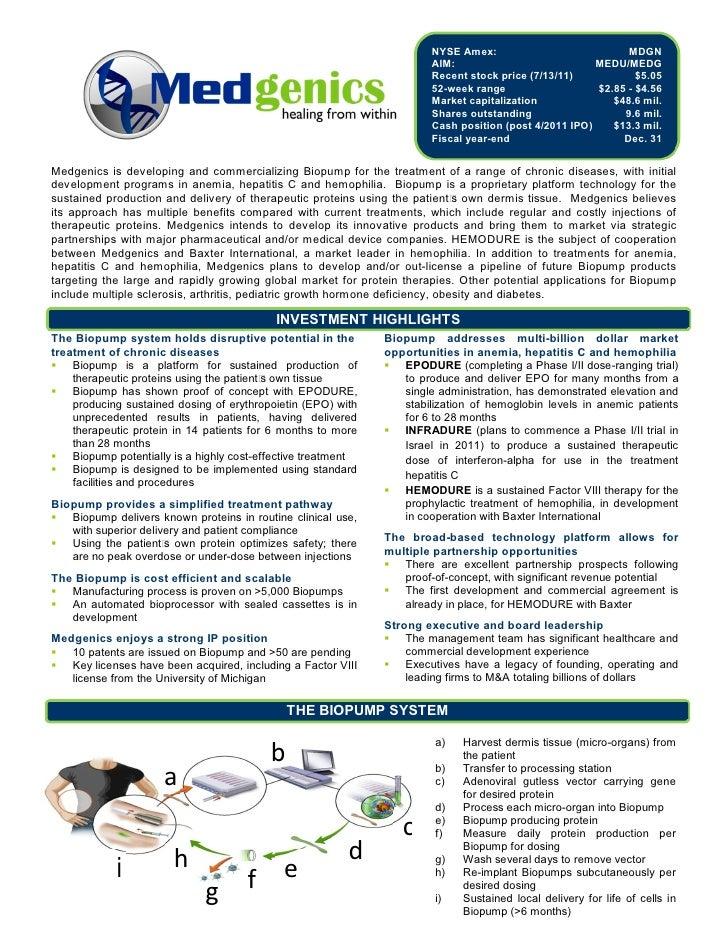 Medgenics (NYSE AMEX: MDGN) - Investor Fact Sheet