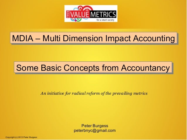 Some basic concepts of accountancy used in MDIA