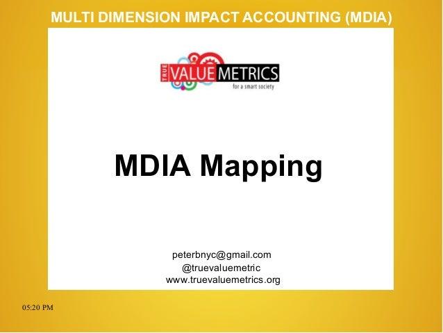 05:20 PM peterbnyc@gmail.com www.truevaluemetrics.org MULTI DIMENSION IMPACT ACCOUNTING (MDIA) MDIA Mapping @truevaluemetr...
