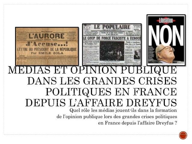 Quel rôle les médias jouent-ils dans la formation de l'opinion publique lors des grandes crises politiques en France depui...