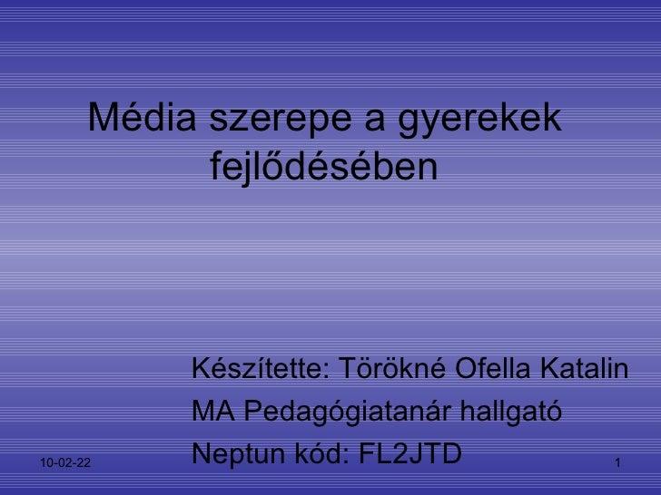 Média szerepe a gyerekek fejlődésében Készítette: Törökné Ofella Katalin MA Pedagógiatanár hallgató Neptun kód: FL2JTD