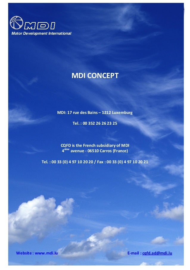 Mdi compressed air car  -new production concept 2010