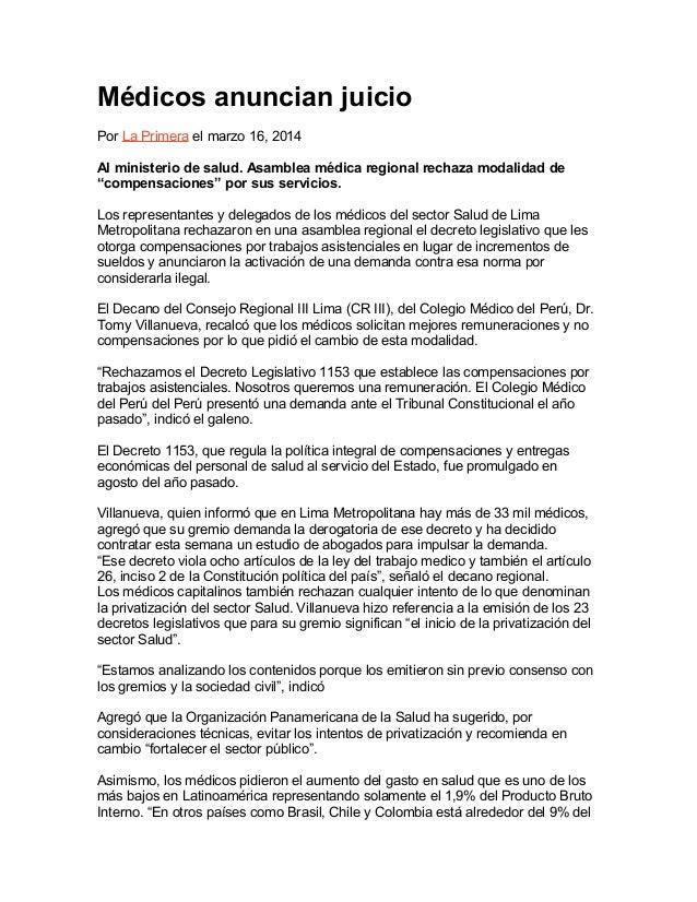 Ecos de la Asamblea Médica Regional de Lima: Médicos anuncian juicio