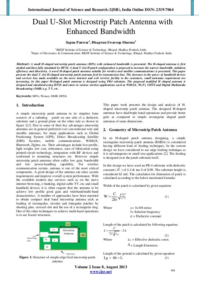 microstrip antenna research paper Engineering and technology research  objective of this paper is to assess the impacts  frequency of operation of a microstrip antenna can be calculated.