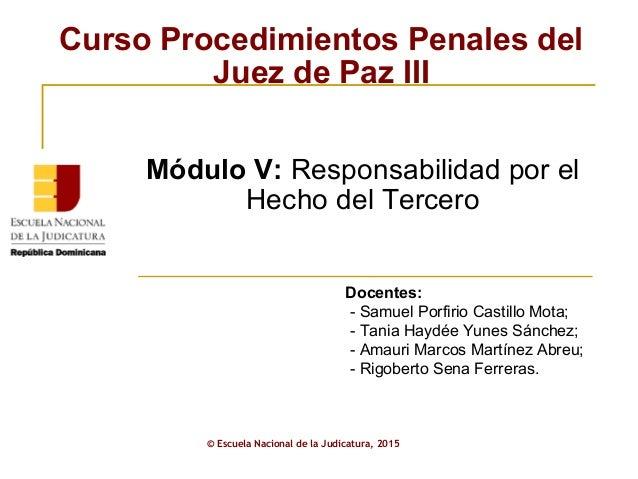 Curso Procedimientos Penales del Juez de Paz III © Escuela Nacional de la Judicatura, 2015 Docentes: - Samuel Porfirio Cas...