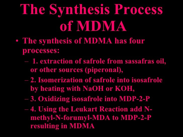 synthesis of mdma This work examines the synthesis of 3,4-methylenedioxy-n-methylamphetamine ( mdma) from common starting materials that may be utilised by clandestine laboratory operators piperonal was prepared from two common starting materials, piperine (from pepper) and vanillin (a common flavouring.