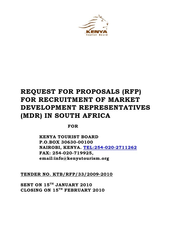 REQUEST FOR PROPOSALS (RFP) FOR RECRUITMENT OF MARKET DEVELOPMENT REPRESENTATIVES (MDR) IN SOUTH AFRICA                 FO...