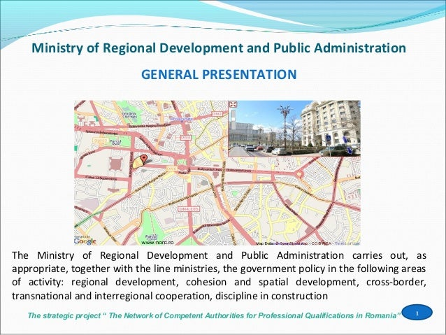 """The strategic project """" The Network of Competent Authorities for Professional Qualifications in Romania""""Ministry of Region..."""