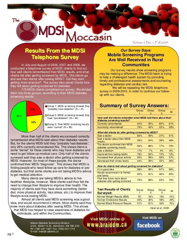 The  Moccasin Results From the MDSi Telephone Survey  Our Survey Says:  In July and August of 2006, 2007 and 2008, we cond...