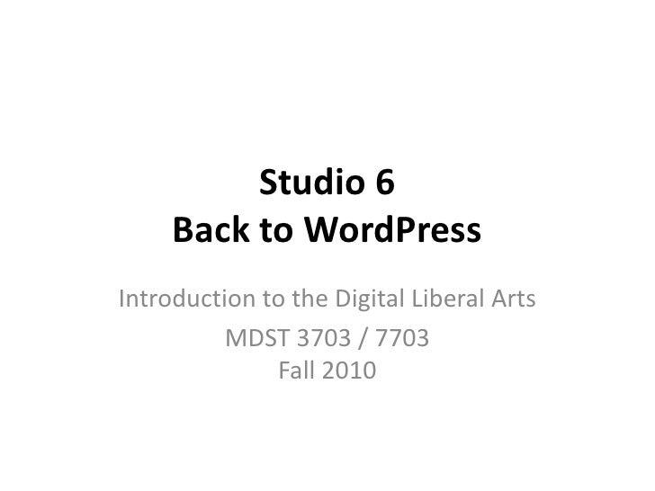 MDST 3703 F10 Studio 6