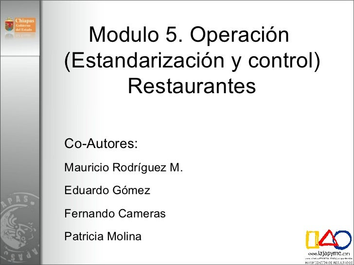 M dulo 5 operaci n restaurantes v3 for Manual de operaciones de un restaurante ejemplo