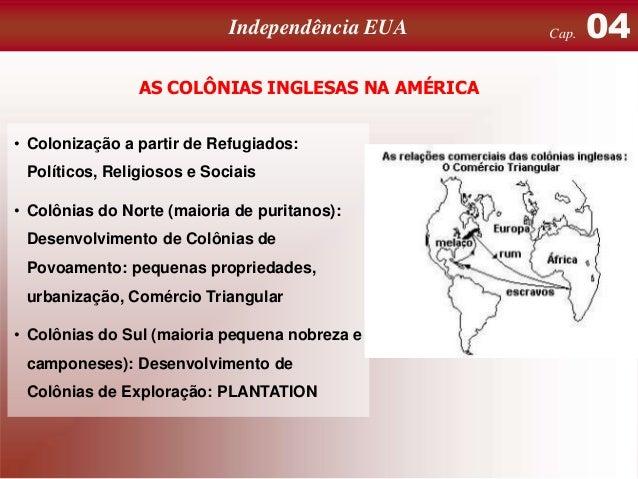 Independência EUA AS COLÔNIAS INGLESAS NA AMÉRICA • Colonização a partir de Refugiados: Políticos, Religiosos e Sociais  •...