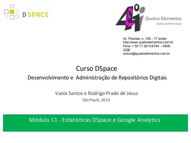 Módulo 11 Estatísticas DSpace e Google Analytics