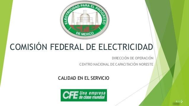 COMISIÓN FEDERAL DE ELECTRICIDAD DIRECCIÓN DE OPERACIÓN  CENTRO NACIONAL DE CAPACITACIÓN NORESTE  CALIDAD EN EL SERVICIO