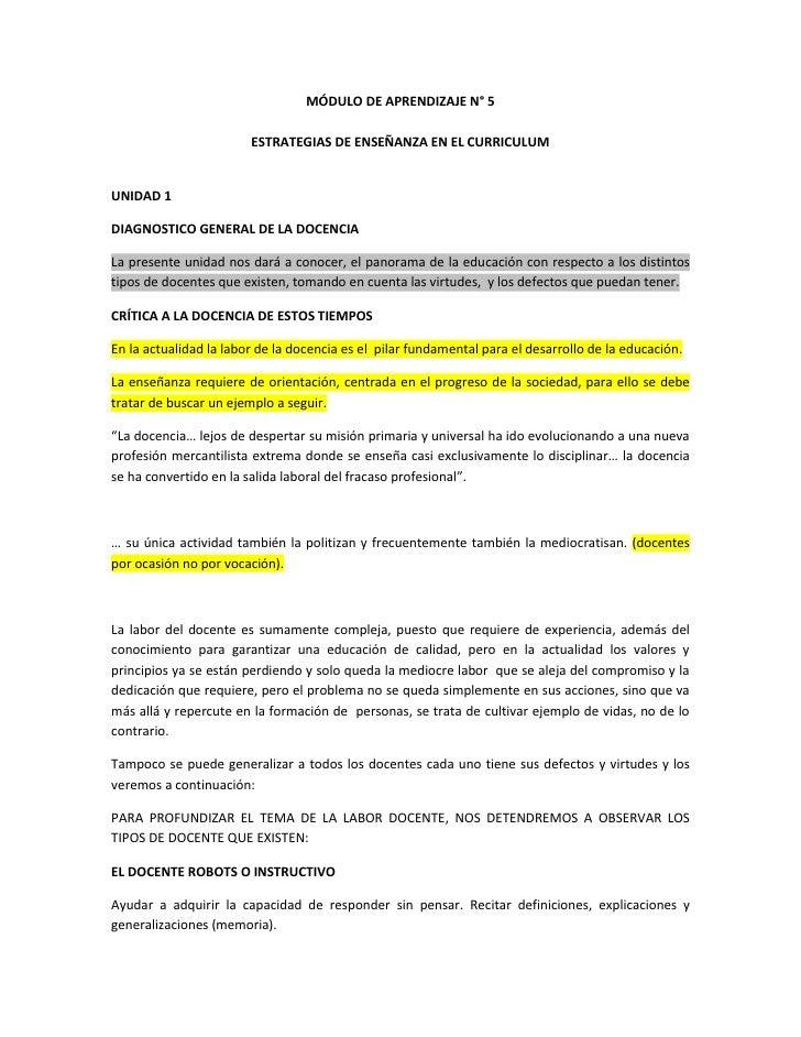 MÓDULO DE APRENDIZAJE N° 5                        ESTRATEGIAS DE ENSEÑANZA EN EL CURRICULUMUNIDAD 1DIAGNOSTICO GENERAL DE ...