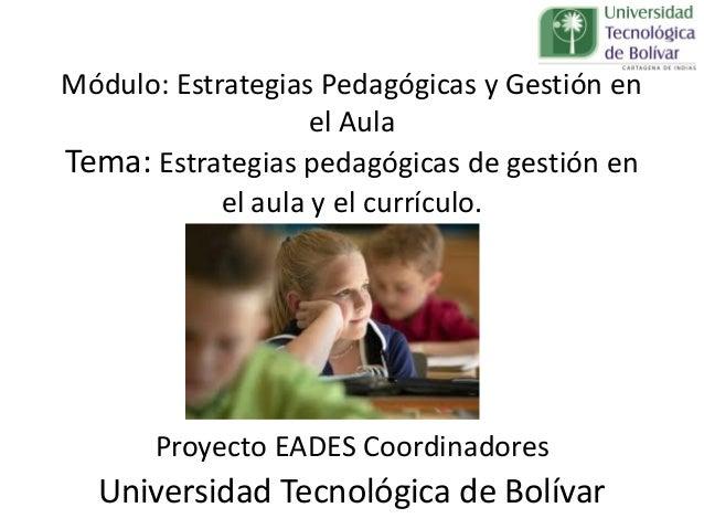 Módulo: Estrategias Pedagógicas y Gestión en el Aula Tema: Estrategias pedagógicas de gestión en el aula y el currículo. P...