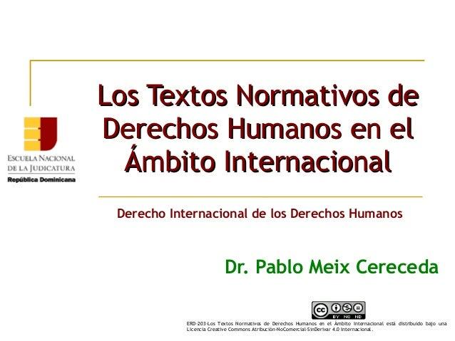 Los Textos Normativos deLos Textos Normativos de Derechos Humanos en elDerechos Humanos en el Ámbito InternacionalÁmbito I...