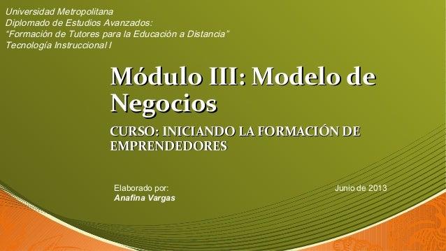 Módulo III: Modelo deMódulo III: Modelo de NegociosNegocios CURSO: INICIANDO LA FORMACIÓN DECURSO: INICIANDO LA FORMACIÓN ...