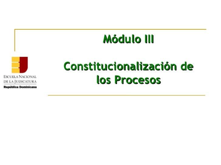 Módulo IIIConstitucionalización de      los Procesos