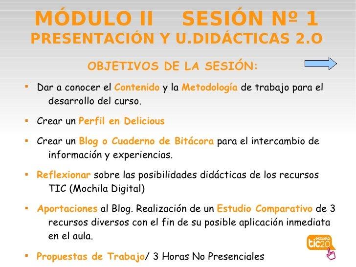 MÓDULO II                      SESIÓN Nº 1     PRESENTACIÓN Y U.DIDÁCTICAS 2.O                OBJETIVOS DE LA SESIÓN:    ...