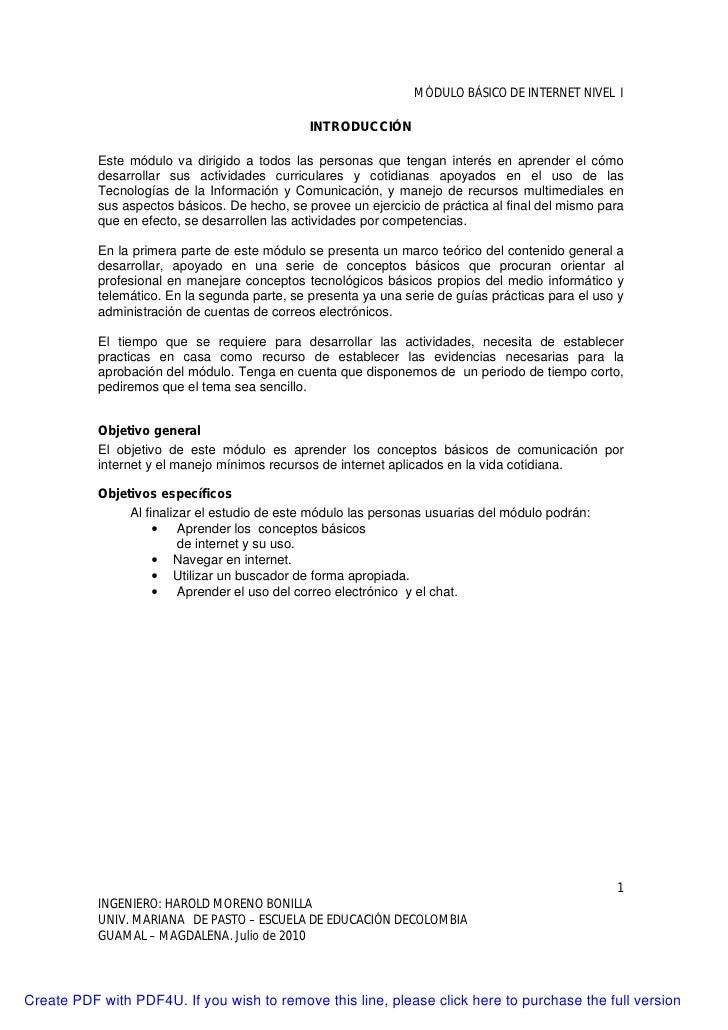 MÓDULO BÁSICO DE INTERNET NIVEL I                                                 INTRODUCCIÓN             Este módulo va ...