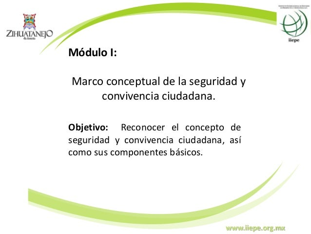 www.iiepe.org.mx Módulo I: Marco conceptual de la seguridad y convivencia ciudadana. Objetivo: Reconocer el concepto de se...