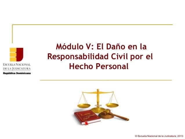 Módulo V: El Daño en laResponsabilidad Civil por el     Hecho Personal                       © Escuela Nacional de la Judi...