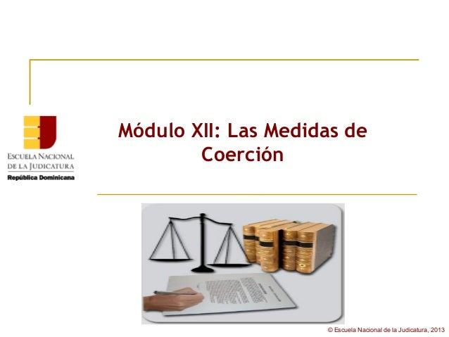 Módulo XII: Las Medidas de        Coerción                     © Escuela Nacional de la Judicatura, 2013