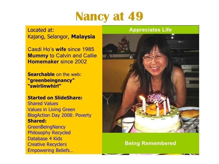 Nancy at 49 Located at:  Kajang, Selangor,  Malaysia Casdi Ho's  wife  since 1985  Mummy  to Calvin and Callie Homemaker  ...