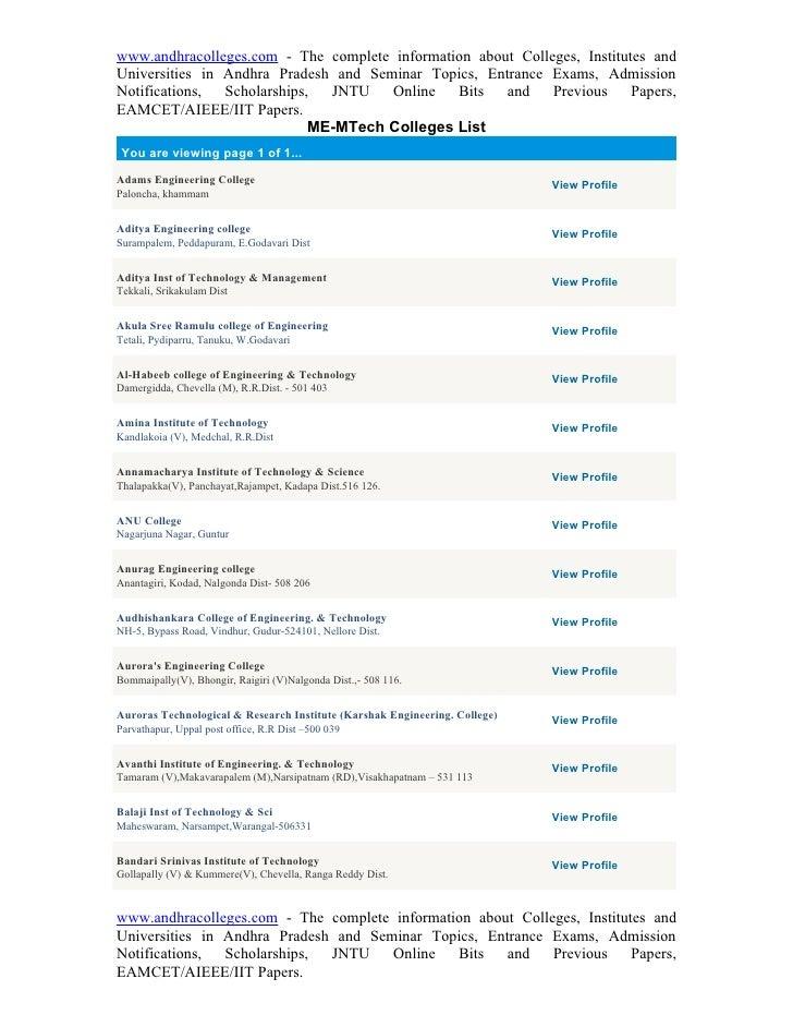 Me m tech+colleges+list
