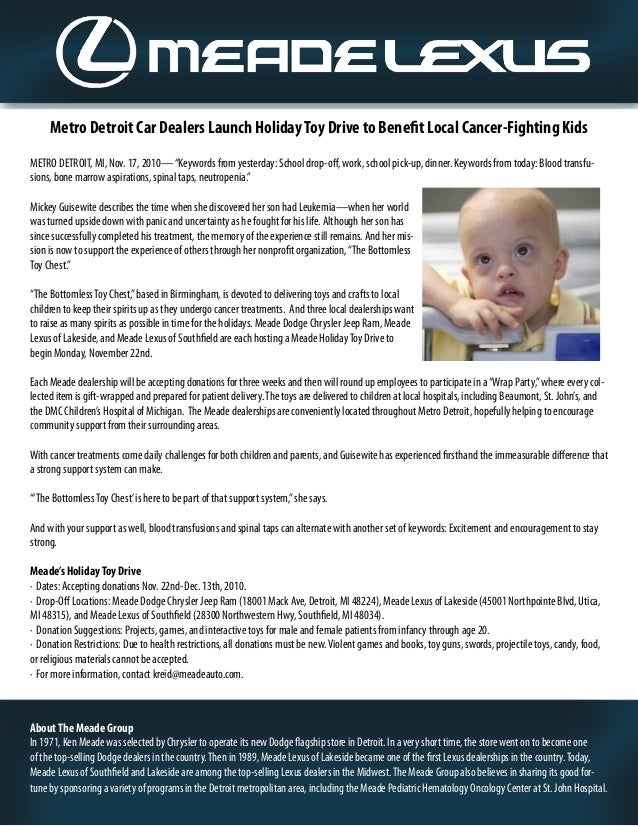 "Metro Detroit Car Dealers Launch HolidayToy Drive to Benefit Local Cancer-Fighting Kids METRO DETROIT, MI, Nov. 17, 2010—""..."
