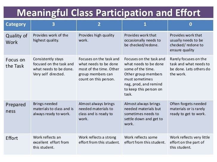 Meaningful class participation and effort