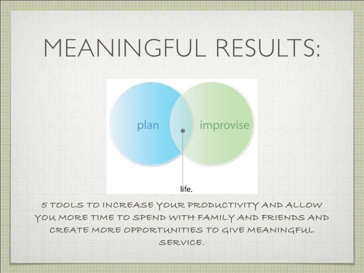 MEANINGFUL RESULTS:      5 TOOLS TO INCREASE YOUR PRODUCTIVITY AND ALLOW YOU MORE TIME TO SPEND WITH FAMILY AND FRIENDS AN...