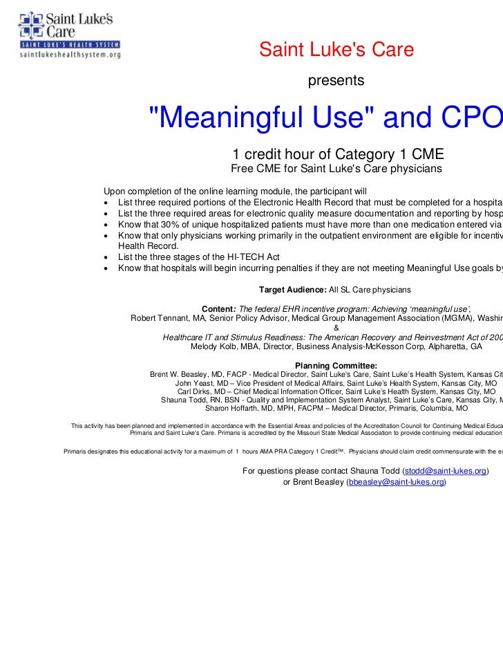 Meaningful use and cpoe cme presentation