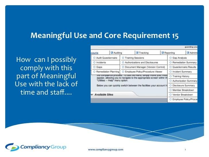 meaningful use core measure 15 webinar