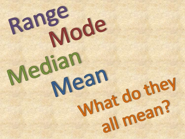 Range, Mode, Median and Mean