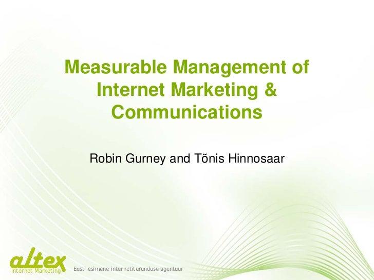 Measurable Management of Internet Marketing and Communications -  Pärnu Juhtimiskonverents Workshop -  altex marketing