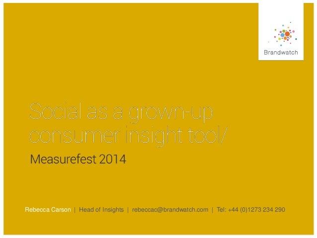 Rebecca Carson | Head of Insights | rebeccac@brandwatch.com | Tel: +44 (0)1273 234 290