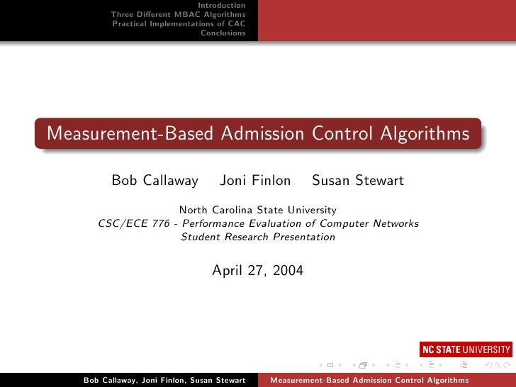 Measurement-Based Admission Control Algorithms