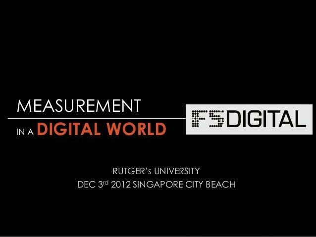 © Gregory Birge for F5DIGITAL® Pte Ltd 2012Measurement in a Digital World I Rutgers UniversityRUTGER's UNIVERSITYDEC 3rd 2...