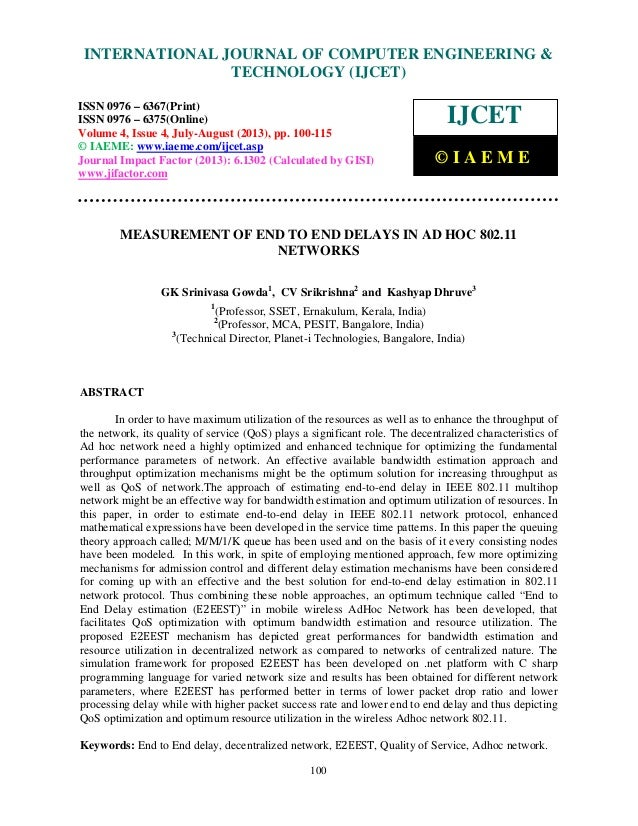 Measurement of end to end delays in ad hoc 802