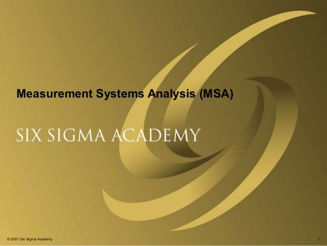 Measurement systems analysis v1.1