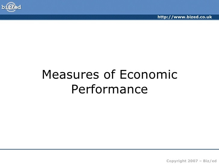 Measures of Economic Performance
