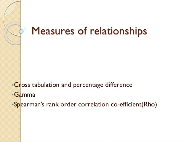 Measures of relationships •Cross tabulation and percentage difference •Gamma •Spearman's rank order correlation co-efficie...