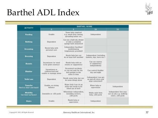 Adl Index Score Barthel Adl Index Copyright