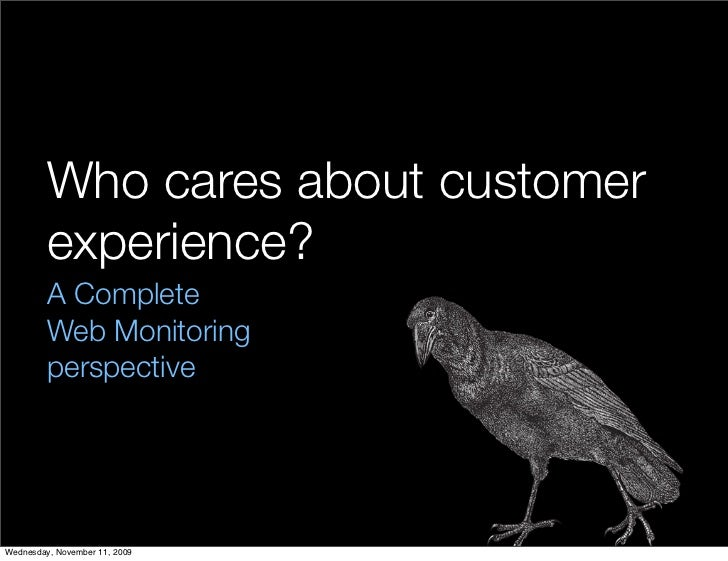 Who cares about customer          experience?          A Complete          Web Monitoring          perspective     Wednesd...