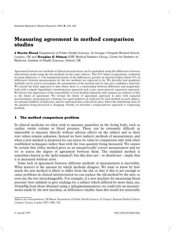 Measuring agreement in method comparison