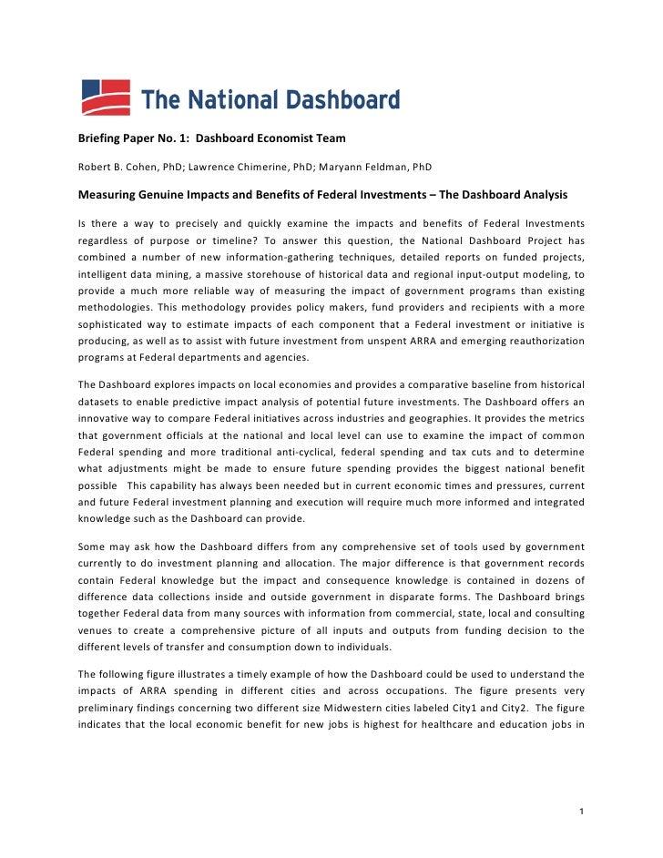 Briefing  Paper  No.  1:    Dashboard  Economist  Team    Robert  B.  Cohen,  PhD;  Lawrence  ...