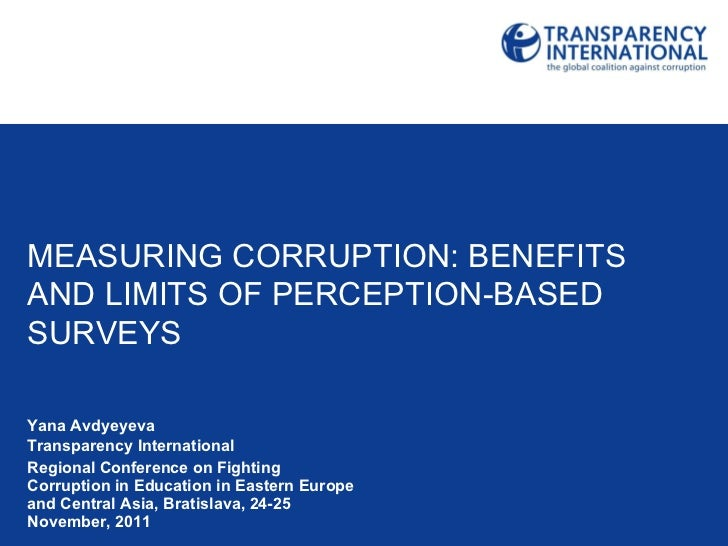 Measuring Corruption benefits and limits of perception-based surveys
