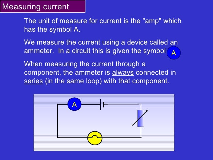 """The unit of measure for current is the """"amp"""" which has the symbol A. We measure the current using a device calle..."""